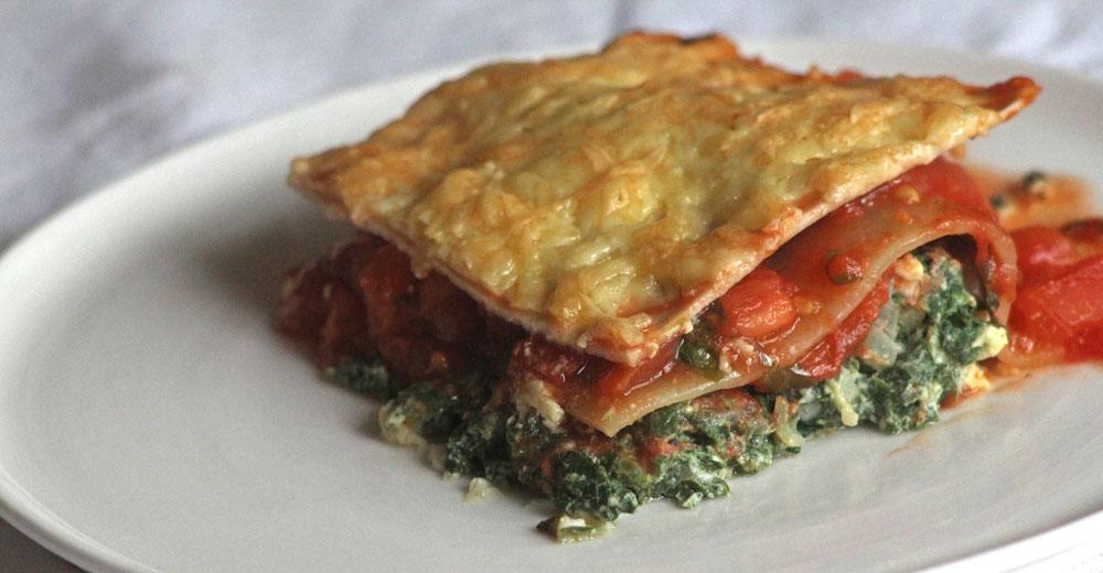 Lasagne aus Kürbisblatt-Spinat