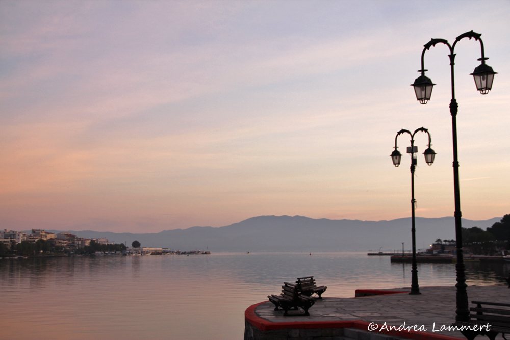 Chalkida, Griechenland, Hotel Lucy, Promenade bei Sonnenaufgang