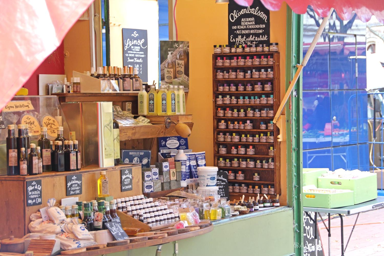 Lindener Markt, Hannover-Linden, Olivenölstand, Seife und Olivenbalm