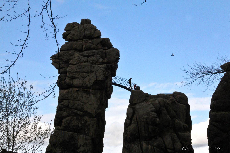 Externsteine, Teutoburger Wald, Bad Meinberg, Brücke am Turmfels