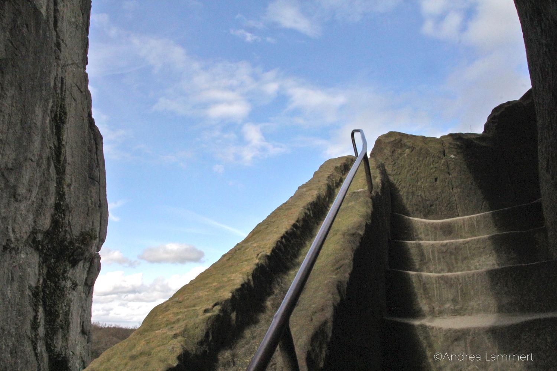 Externsteine, Teutoburger Wald, Bad Meinberg, Turmfelsen Treppe auf den Felsen