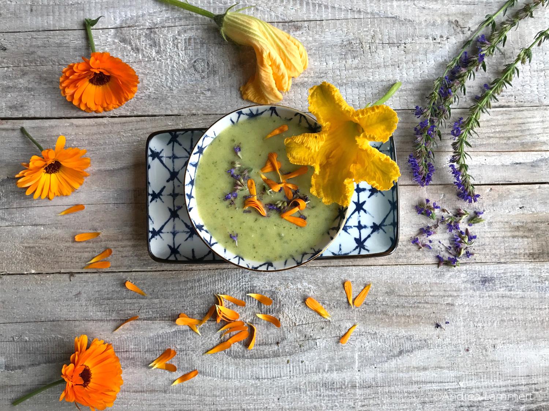 vegane Zucchinisuppe, Rezept mit Blüte