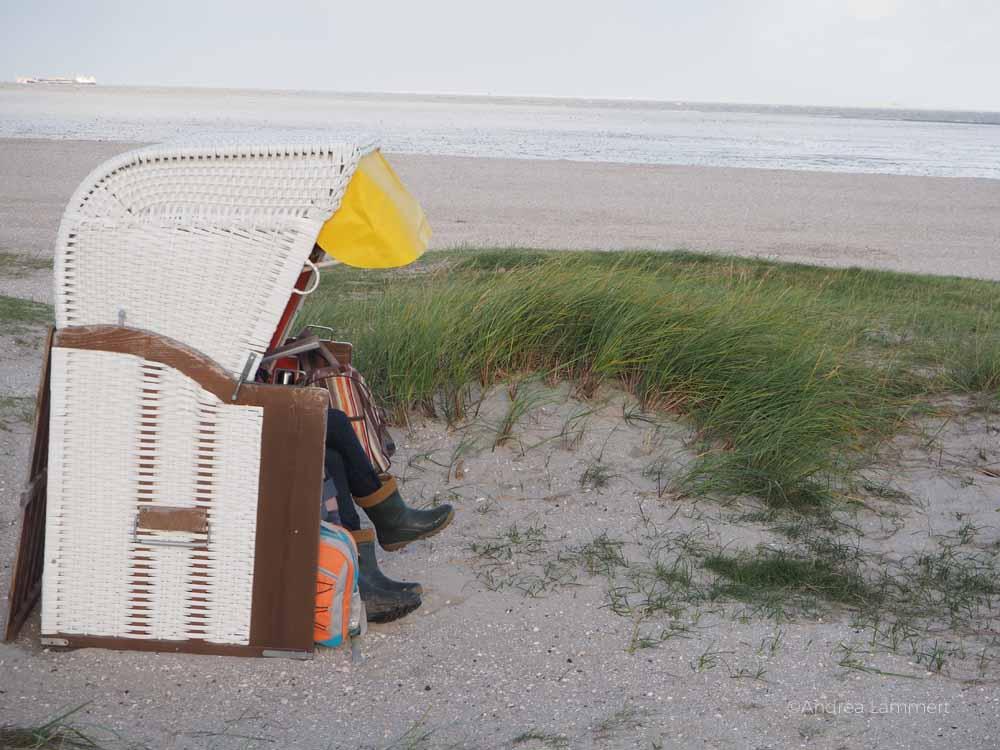 Niedersächsische Nordseeküste: In Schillig im Wangerland gibt es Sandstrand und Dünen. Strandkorbszene