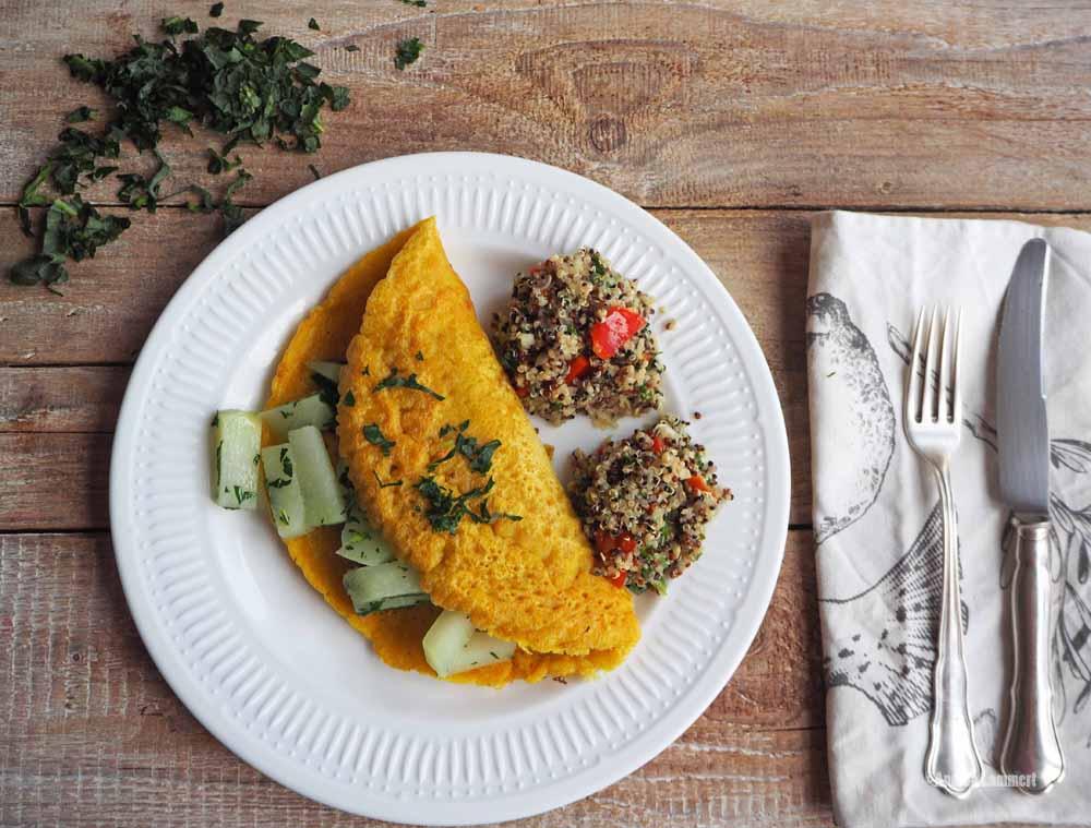 Veganes Omelett, Rezept, veganer Eischnee aus Kichererbsenwasser