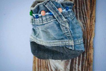 Stiftehalter Design selbst gemacht aus alten Jeans, hier Ansicht der Tasche