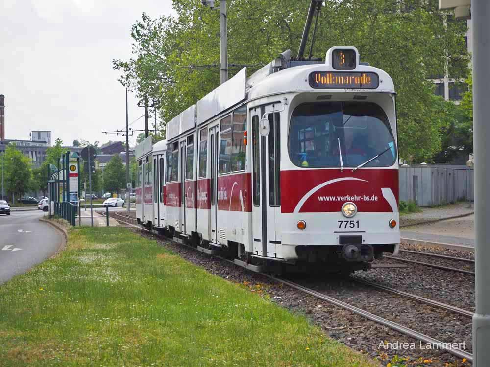 Straßenbahnen verbinden die Innenstadt und sorgen für gute Anbindung in Braunschweig.