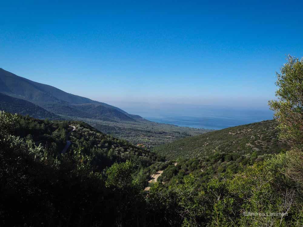 Panoramablick aus den Bergen von THassos
