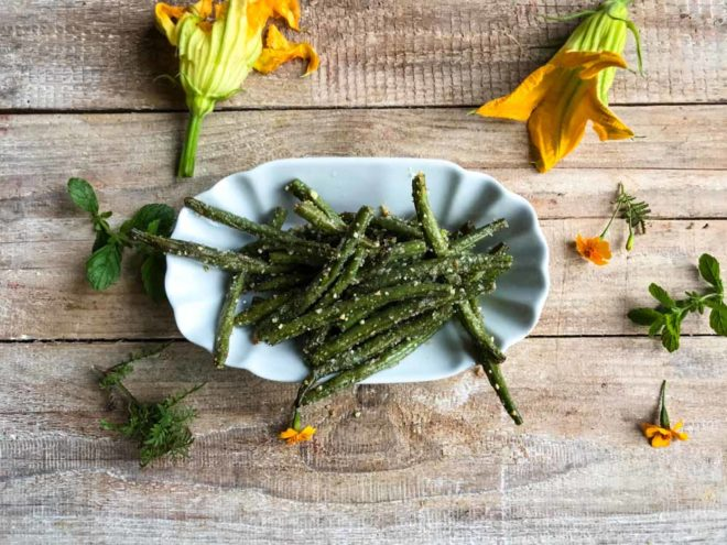 Fried green beans, grüne bohnen fritten
