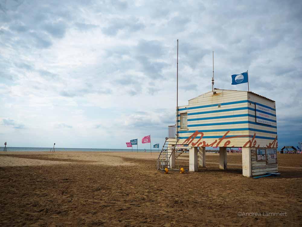 Häuschen am Strand von Gruissan. Gruissan Südfrankreich, Strand, Tipp